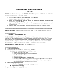 Provost's Internal Funding Support Grant  FY 2015-2016: