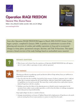 Operation IRAQI FREEDOM Decisive War, Elusive Peace