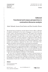 Editorial Functional and corpus perspectives in contrastive discourse analysis