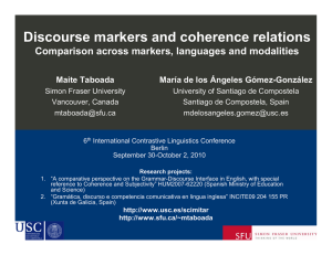 Discourse markers and coherence relations Comparison across markers, languages and modalities