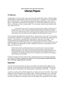 Literary Papers WCU Writing and Learning Commons The Beginning…