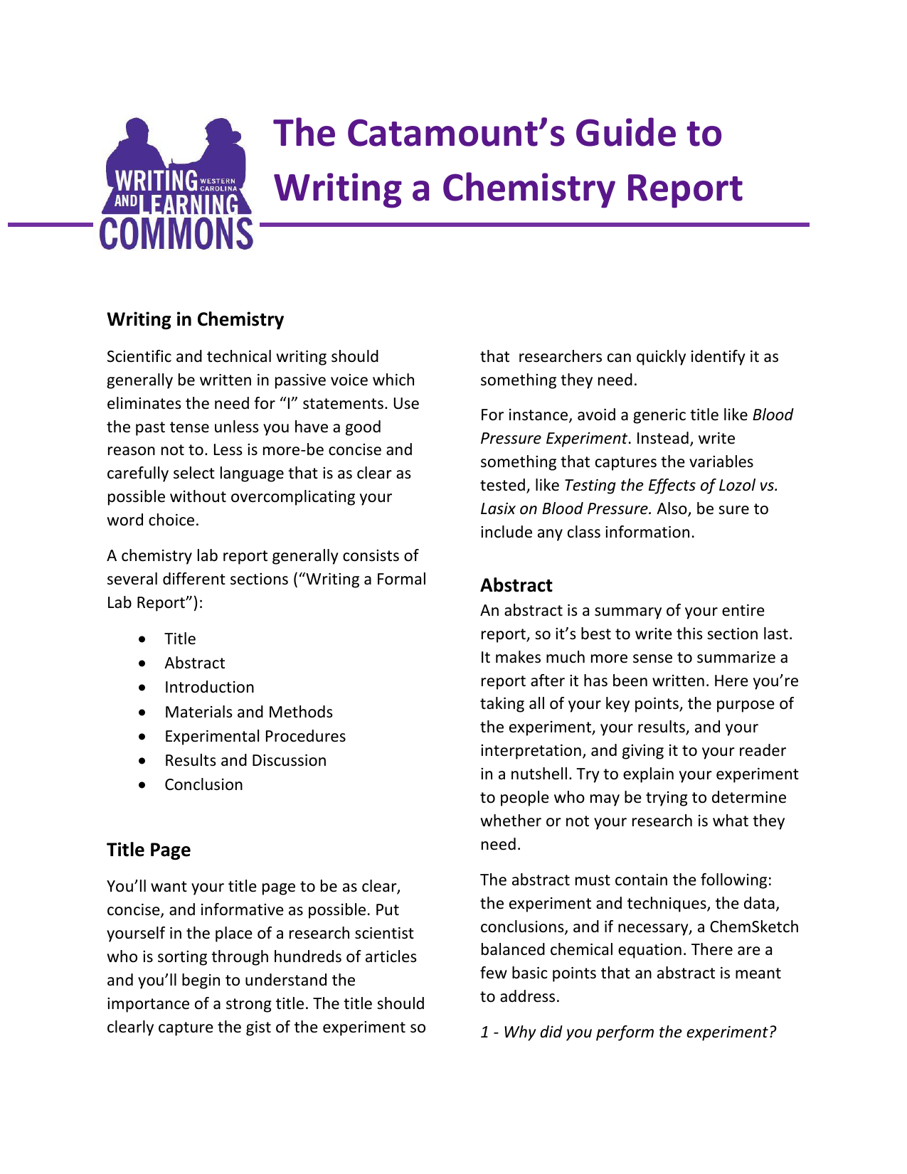 how to write an abstract for a lab report example