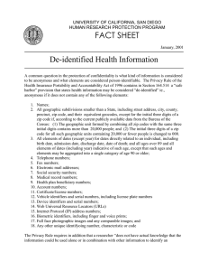 FACT SHEET De-identified Health Information UNIVERSITY OF CALIFORNIA, SAN DIEGO