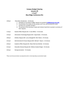 Campus Budget Hearing January 29 1-4 pm* Blue Ridge Conference Rm
