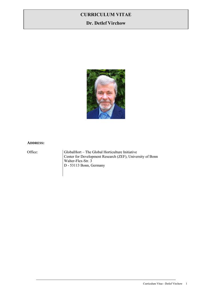 Curriculum Vitae Dr Detlef Virchow A