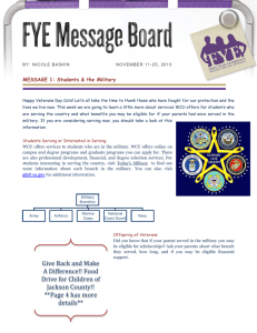 MESSAGE 1: Students & the Military