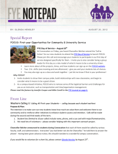 Special Report FOCUS: First-year Opportunities for Community & University Service