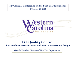 FYE Quality Control: 32 Annual Conference on the First Year Experience