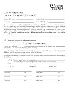 Cost of Attendance  Adjustment Request 2015-2016