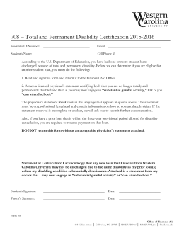 708 – Total and Permanent Disability Certification 2015-2016