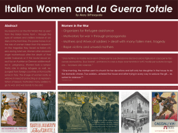 Italian Women and Women in the War Abstract - Organizers for Refugee assistance