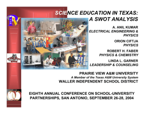 SCIE NCE EDUCATION IN TEXAS: A SWOT ANALYSIS