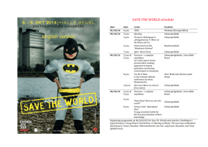 SAVE THE WORLD schedule