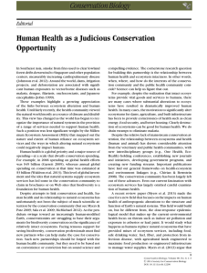 Human Health as a Judicious Conservation Opportunity Editorial