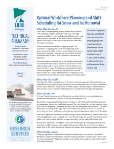 TECHNICAL Optimal Workforce Planning and Shift Scheduling for Snow and Ice Removal