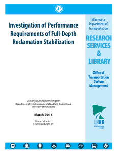 Investigation of Performance Requirements of Full-Depth Reclamation Stabilization