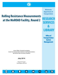 Rolling Resistance Measurements at the MnROAD Facility, Round 2