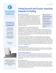 RESEARCH SERVICES Putting Research into Practice: Improving Subgrade Test Rolling
