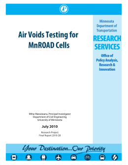 Air Voids Testing for MnROAD Cells  July 2010