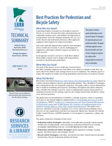 TECHNICAL Best Practices for Pedestrian and Bicycle Safety What Was the Need?