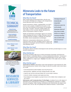 Minnesota Looks to the Future of Transportation What Was the Need?