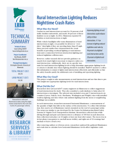 Rural Intersection Lighting Reduces Nighttime Crash Rates What Was the Need?