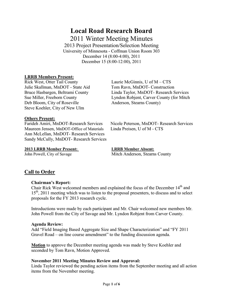 Local Road Research Board 2011 Winter Meeting Minutes 2013 Project Presentation Selection Meeting