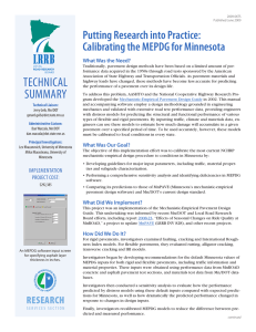 Putting Research into Practice: Calibrating the MEPDG for Minnesota