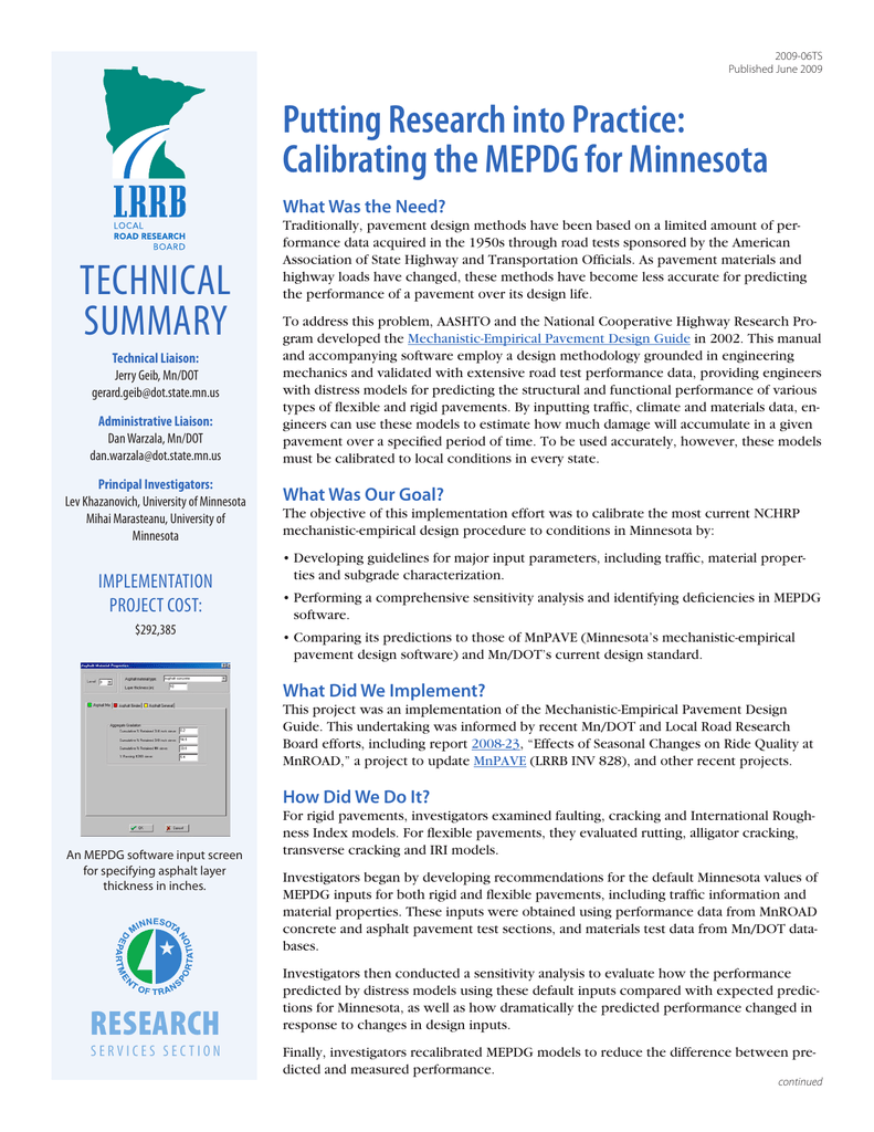 Putting Research Into Practice Calibrating The Mepdg For Minnesota