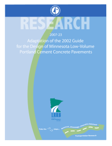 Adaptation of the 2002 Guide for the Design of Minnesota Low-Volume 2007-23
