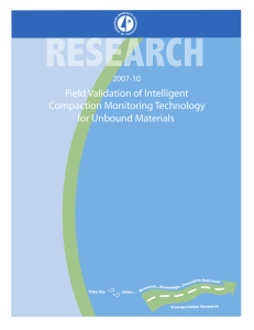 Field Validation of Intelligent Compaction Monitoring Technology for Unbound Materials 2007-10