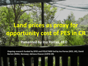 Land prices as proxy for opportunity cost of PES in CR