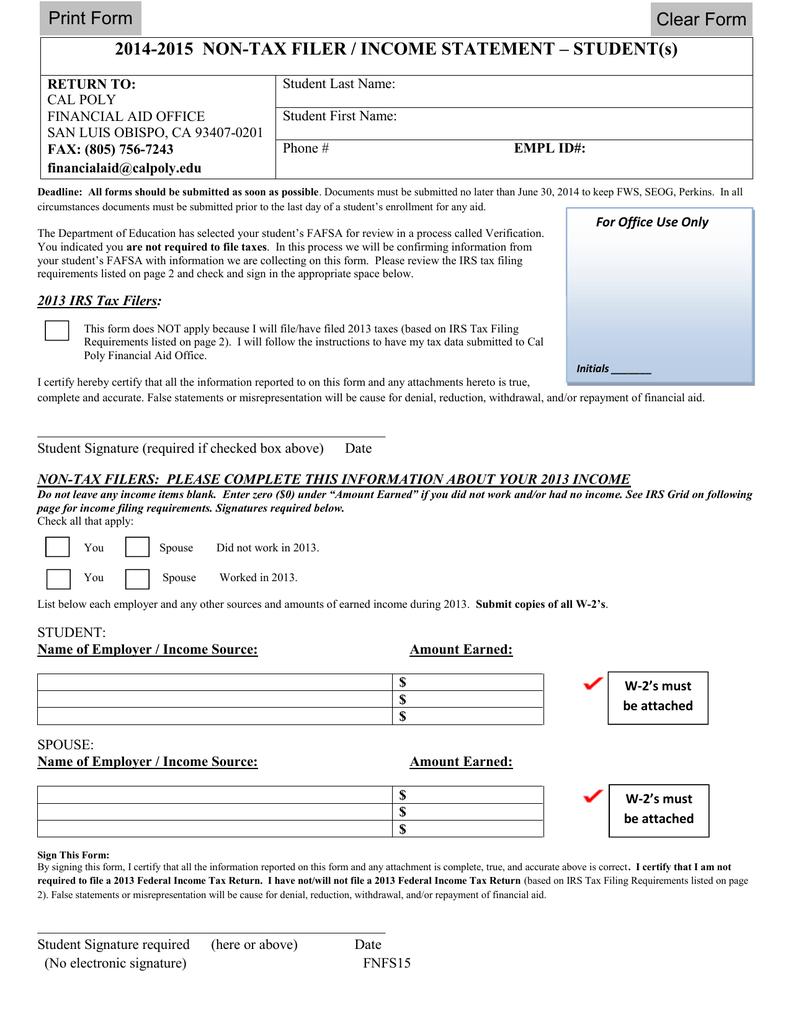 2014-2015 NON-TAX FILER / INCOME STATEMENT – STUDENT(s) Print Form ...