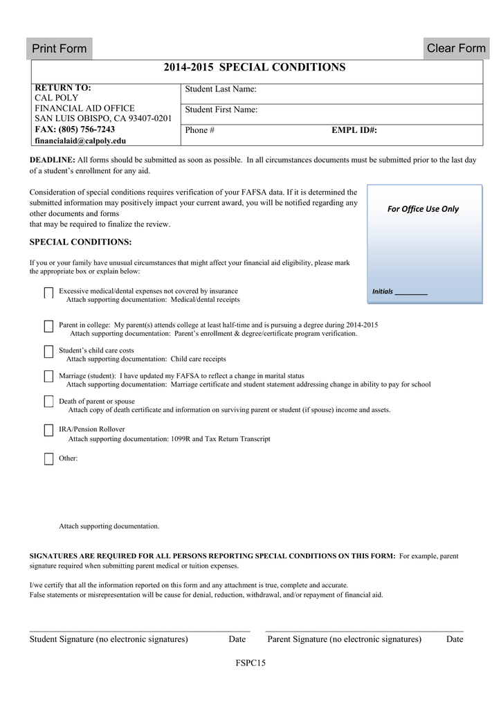 Clear Form 4-2015 SPECIAL CONDITIONS 201 Print Form