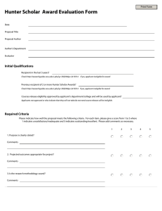 Hunter Scholar  Award Evaluation Form Initial Qualifications  Print Form