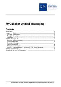 MyCallpilot Unified Messaging Contents