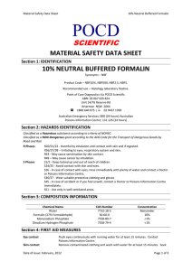 POCD SCIENTIFIC  MATERIAL SAFETY DATA SHEET