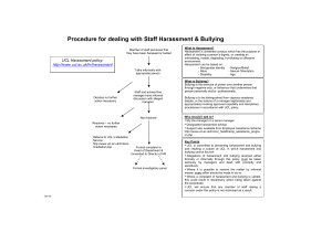 Procedure for dealing with Staff Harassment & Bullying