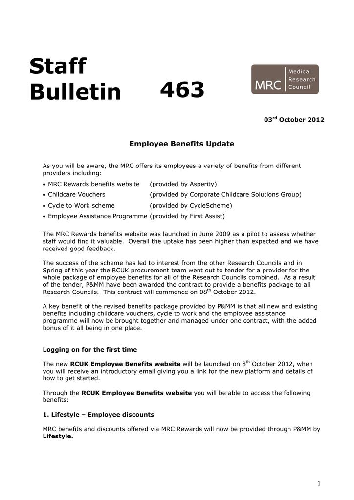 Staff 463 Bulletin