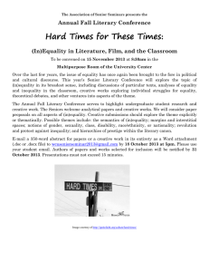 Hard Times for These Times : Annual Fall Literary Conference