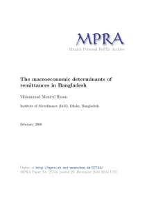 MPRA The macroeconomic determinants of remittances in Bangladesh Munich Personal RePEc Archive