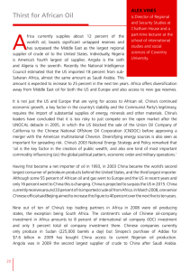 A Thirst for African Oil ALEX VINES