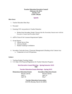 Teacher Education Executive Council February 20, 2015 Seerley 119 12:00-1:00 pm