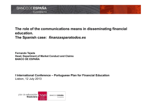 The role of the communications means in disseminating financial education. finanzasparatodos.es