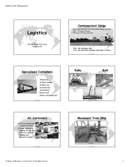 Logistics Containerized Cargo Global Trade Management World Trade Practices