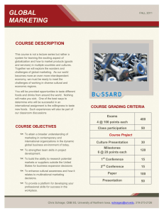 GLOBAL MARKETING COURSE DESCRIPTION