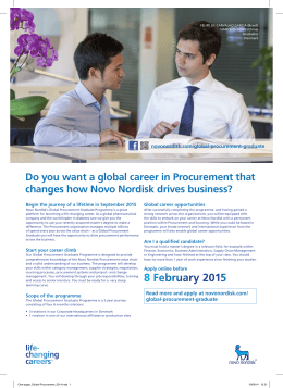 Do you want a global career in Procurement that novonordisk.com/global-procurement-graduate