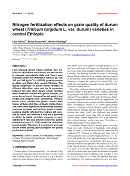 Nitrogen fertilization effects on grain quality of durum Triticum turgidum central Ethiopia