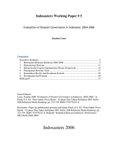 Indosasters Working Paper # 5 Contents