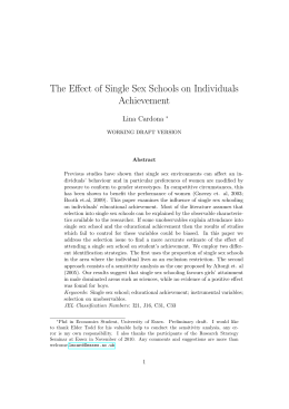 The Effect of Single Sex Schools on Individuals Achievement Lina Cardona